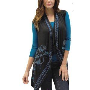 CAITE NEW Imani Drape Embroidered Vest XL